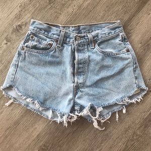 Vintage Levis 501 light wash shorts